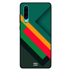 Moreau Laurent Huawei P30 Mobile Phone Back Cover, Red Yellow Green Cross Stripes Pattern