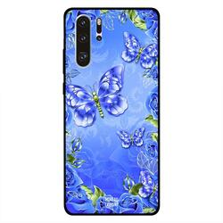 Moreau Laurent Huawei P30 Pro Mobile Phone Back Cover, Full Blue Floral and Butterflies