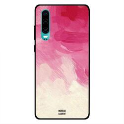 Moreau Laurent Huawei P30 Mobile Phone Back Cover, Red Pink & Off White Pattern