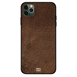 Moreau Laurent Apple iPhone 11 Pro Mobile Phone Back Cover, Dark Brown Leather Pattern
