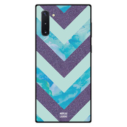 Moreau Laurent Samsung Note 10 Mobile Phone Back Cover, Purple Glitters Blue Marble & Matt Pattern