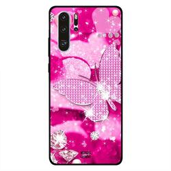 Moreau Laurent Huawei P30 Pro Mobile Phone Back Cover, Diamonds & Pink Butterfly