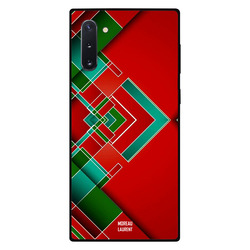 Moreau Laurent Samsung Note 10 Mobile Phone Back Cover, Red Green & White Lines Pattern