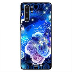 Moreau Laurent Huawei P30 Pro Mobile Phone Back Cover, Floral Blue Butterfly