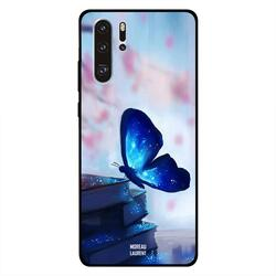 Moreau Laurent Huawei P30 Pro Mobile Phone Back Cover, Dark Blue Butterfly on Books