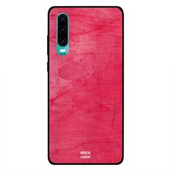 Moreau Laurent Huawei P30 Mobile Phone Back Cover, Red Pink Wooden Pattern