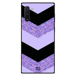 Moreau Laurent Samsung Note 10 Mobile Phone Back Cover, Purple Glitter & Black Plain Pattern