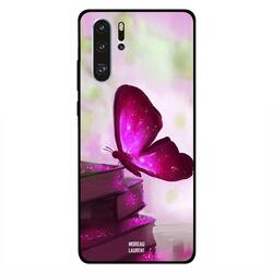 Moreau Laurent Huawei P30 Pro Mobile Phone Back Cover, Dark Pink Butterfly on Books