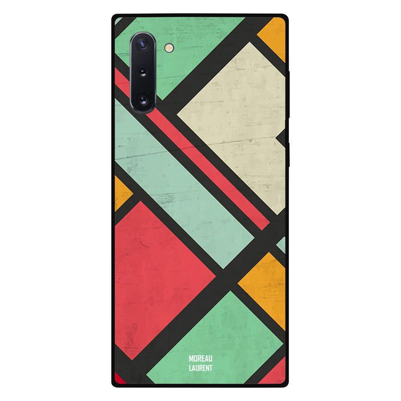 Moreau Laurent Samsung Note 10 Mobile Phone Back Cover, Multi Colors Over Dark Grey Pattern