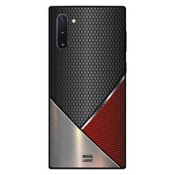Moreau Laurent Samsung Note 10 Mobile Phone Back Cover, Red & Grey Steal Pattern