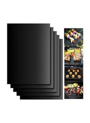 5-Piece Non-Stick Surface Heat Resistant Rectangular BBQ Grill Baking Mat, 40 x 30 x 0.2 cm, Black
