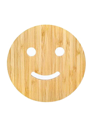 Wood Round Smiley Beverage Pot Coasters, Brown