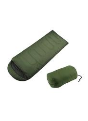Adult Warm Soft Waterproof Camping Hiking Large Single Sleeping Bag, Green, Single
