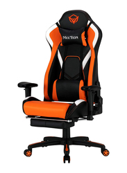 Meetion CHR22 Comfortable Reclining Gaming Chair with Footrest, Black/Orange