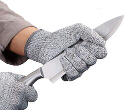 Safety Cut Proof Stab Stainless Steel Metal Mesh Resistant Butcher Gloves, JG0012, 2 Piece, Grey
