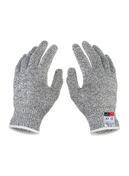 Food Grade Level 5 Protection Working Cutting Resistant Gloves, 2 Pieces, Grey