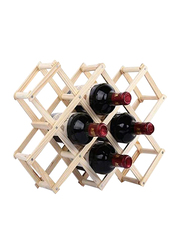 Wine Wooden Rack 10 Bottle Mount Holder Kitchen Exhibition, Brown
