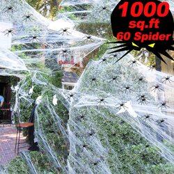 Turnmeon Halloween Spider Web Decorations, 1000 Sqft, US41 H-3, Black/White
