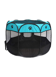 Portable Octagonal Pet Tent Oxford Cloth Foldable Cage, Blue/Black