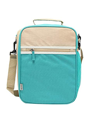 Insulated Lunch Box Bag with Shoulder Strap, Beige/Blue