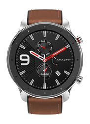 Amazfit GTR 47mm Smartwatch, GPS, Silver/Brown