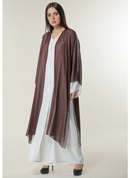 Moistreet Long Sleeve Hand Embroidered Abaya, Extra Large, White/Brown