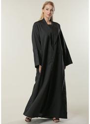 Moistreet Long Sleeve Jacquard Panel Abaya, Large, Black