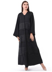 Moistreet Long Sleeve Exotic Abaya with Hand Embroidery and Patchwork, Medium, Black