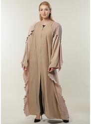 Moistreet Long Sleeve Casual Abaya, Extra Small, Beige