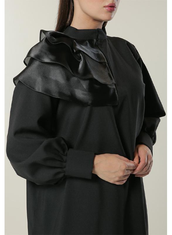 Moistreet Long Sleeve Princess Abaya, Small, Black