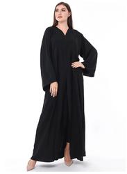Moistreet Long Sleeve Elegant Subtle Hand Embroidery Abaya, Large, Black