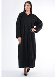 Moistreet Long Sleeve Patchwork Detail Abaya, Extra Large, Black
