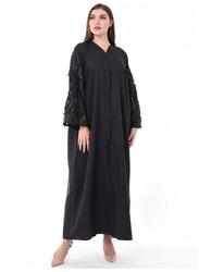Moistreet Designer Hanging Leaves Sleeves Abaya, Large, Black