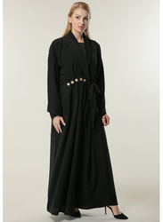 Moistreet Long Sleeve Button Detailing Abaya, Extra Small, Black