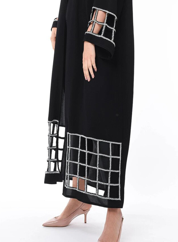 Moistreet Long Sleeve Hand Exotic Laser Cut Abaya with Hand Embroidery, Double Extra Large, Black/Silver