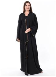 Moistreet Long Sleeve Copper Bullets Abaya, Medium, Black
