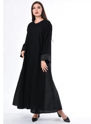 Moistreet Long Sleeve Abaya with Panel, Medium, Black