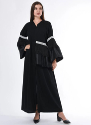 Moistreet Long Sleeve Lace Detailing Abaya, Extra Small, Black