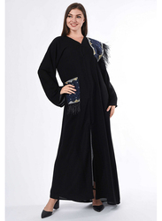 Moistreet Long Sleeve Patchwork Feather Detail Abaya, Extra Large, Black