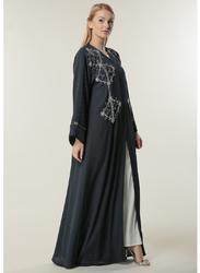 Moistreet Long Sleeve Silver Handwork Abaya, Extra Small, Navy