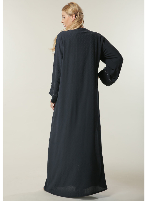 Moistreet Long Sleeve Silver Handwork Abaya, Extra Small, Navy