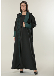 Moistreet Long Sleeve Contrast Panels Overlaid with Net Lace Abaya, Extra Small, Black