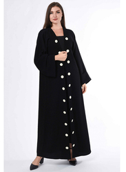 Moistreet Long Sleeve White Button Detail Coat Style Abaya, Small, Black
