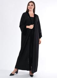 Moistreet Long Sleeve Hand Embroidery Abaya, Medium, Black