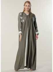 Moistreet Long Sleeve Embellished Handwork Elegant Abaya, Extra Large, Green