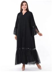 Moistreet Long Sleeve Mesh Hem Abaya, Double Extra Large, Black