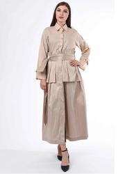 Moistreet Long Sleeve Belt Heavy Pleated Detail Abaya, Large, Beige