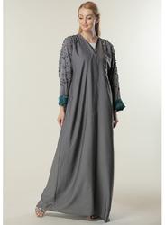 Moistreet Long Sleeve Embellishment Details Abaya, Extra Large, Grey
