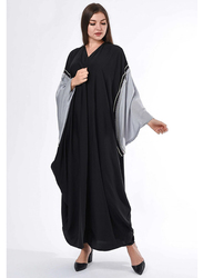 Moistreet Long Sleeve Bead Work on Hand Cape Abaya, Extra Small, Black/Grey