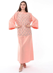 Moistreet Round Neck Long Sleeve Hand Embroidery Jalabiya, Extra Small, Orange